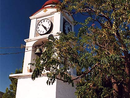 In front of the church of Saint Nikolaos is found the eminent clock